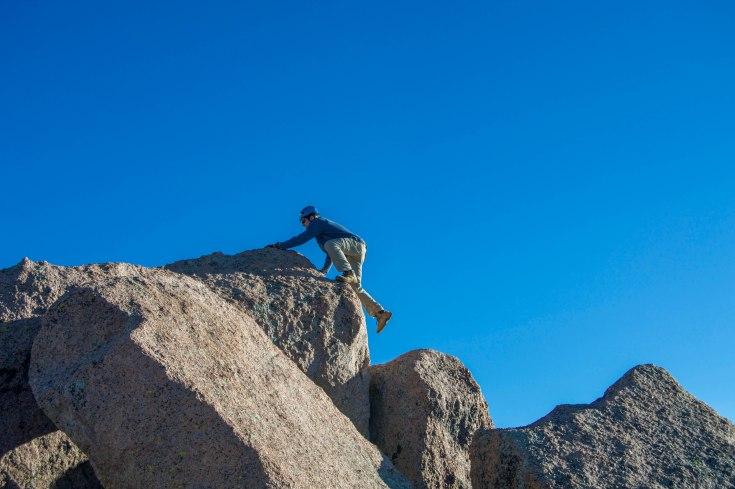 Sending it on the summit block